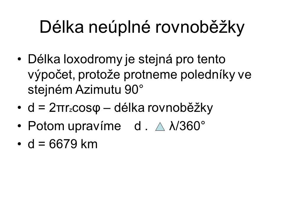 Délka neúplné rovnoběžky •Délka loxodromy je stejná pro tento výpočet, protože protneme poledníky ve stejném Azimutu 90° •d = 2πr z cosφ – délka rovno