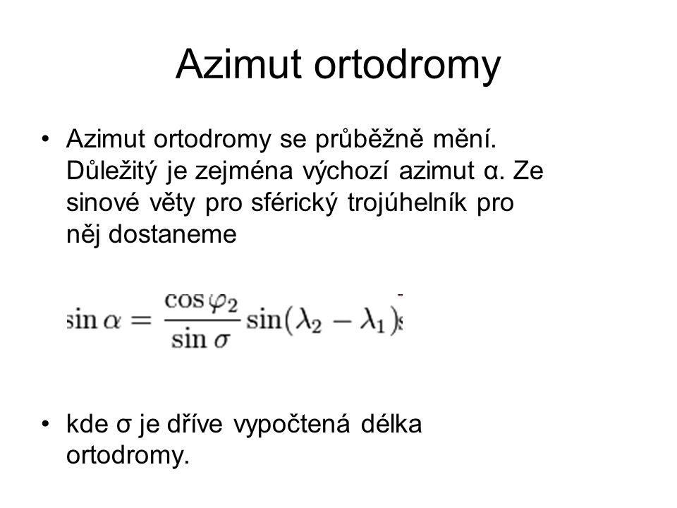 Azimut ortodromy •Azimut ortodromy se průběžně mění. Důležitý je zejména výchozí azimut α. Ze sinové věty pro sférický trojúhelník pro něj dostaneme •