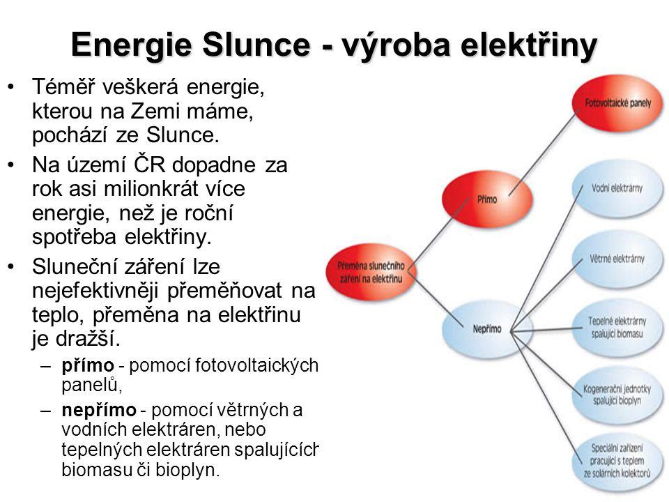 Fotovoltaické panely •jednoduchý způsob přeměny slunečního záření na elektřinu, •princip fotoelektrického jevu: –částice světla - fotony - dopadají na článek svou energií z něho vyráží elektrony.