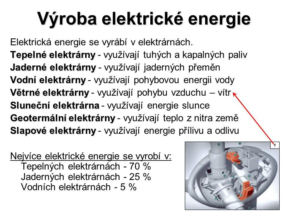 Tepelné a jaderné elektrárny: •převádí se kinetická energie páry na mechanickou pomocí turbíny, •k přeměně mechanické energie na elektrickou se používají synchronní alternátory (turboalternátory), •3000 otáček za minutu, •pro chlazení u malých výkonů se používá vodík a pro velké výkony se používá voda.