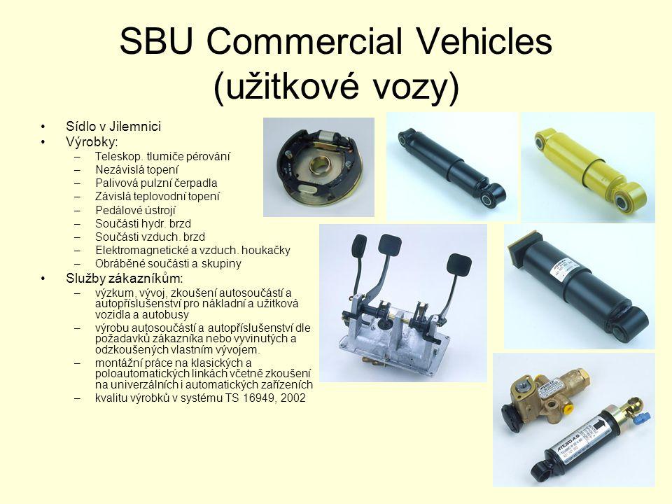 SBU Commercial Vehicles (užitkové vozy) •Sídlo v Jilemnici •Výrobky: –Teleskop. tlumiče pérování –Nezávislá topení –Palivová pulzní čerpadla –Závislá
