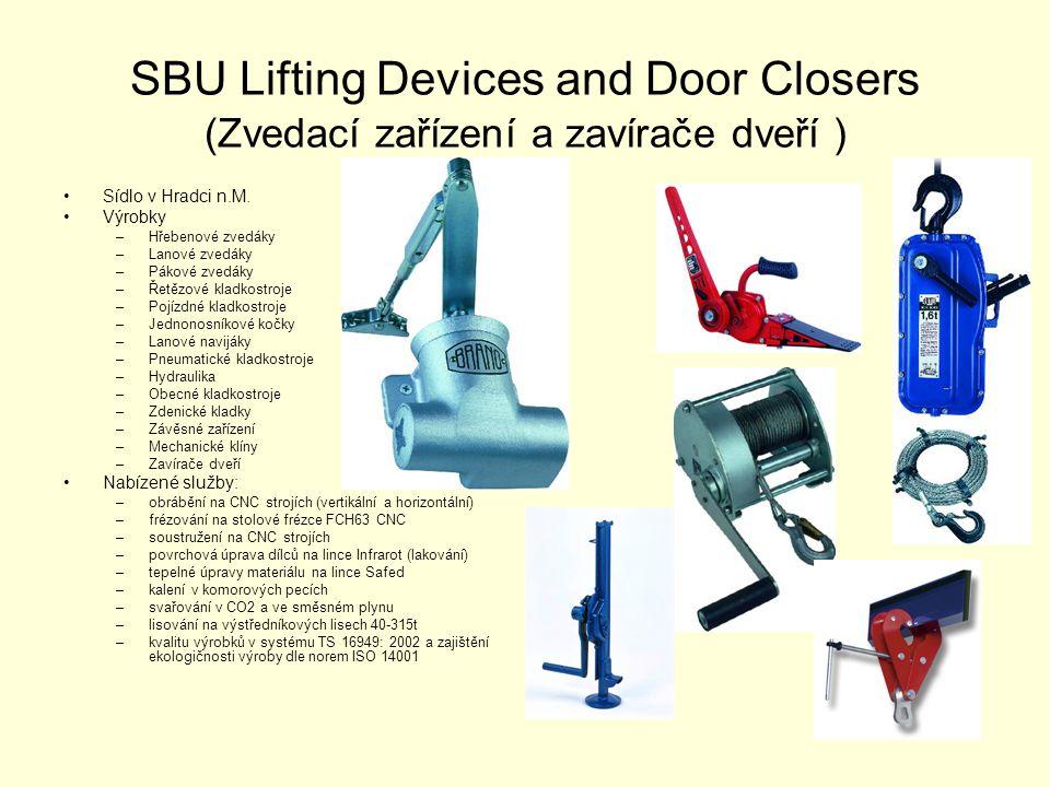 SBU Lifting Devices and Door Closers (Zvedací zařízení a zavírače dveří ) •Sídlo v Hradci n.M. •Výrobky –Hřebenové zvedáky –Lanové zvedáky –Pákové zve