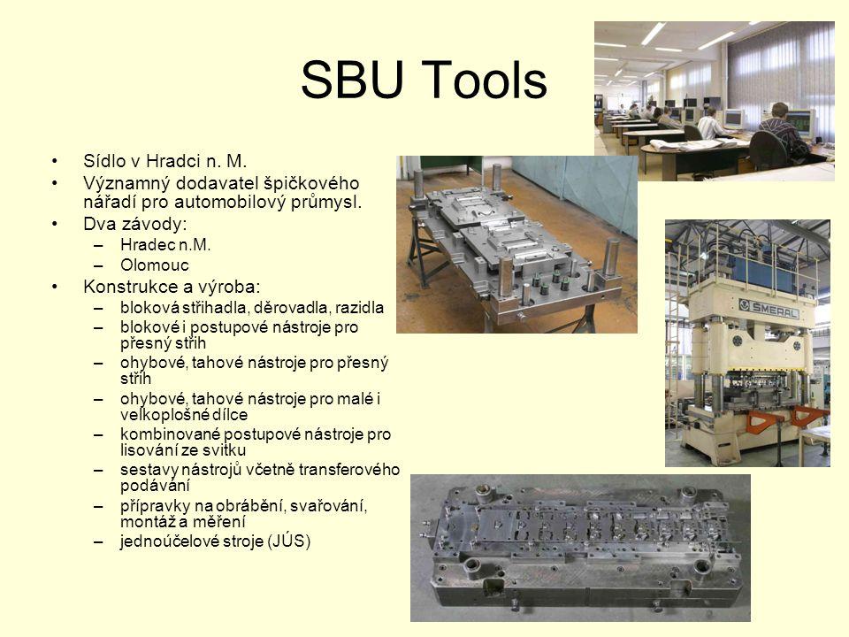 SBU Tools •Sídlo v Hradci n. M. •Významný dodavatel špičkového nářadí pro automobilový průmysl. •Dva závody: –Hradec n.M. –Olomouc •Konstrukce a výrob
