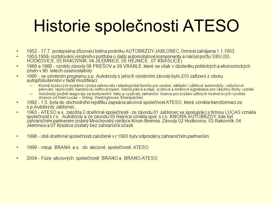 Historie společnosti ATESO •1952 - 17.7. podepsána zřizovací listina podniku AUTOBRZDY JABLONEC, činnost zahájena 1.1.1953. •1953-1958- rozšiřování vý