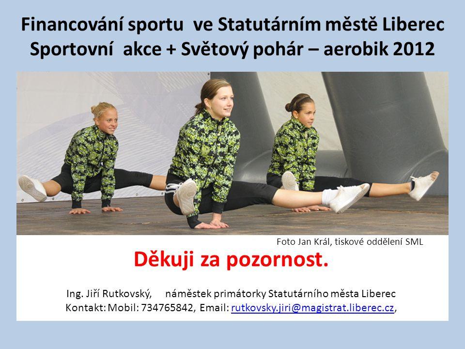 Financování sportu ve Statutárním městě Liberec Sportovní akce + Světový pohár – aerobik 2012 Děkuji za pozornost.