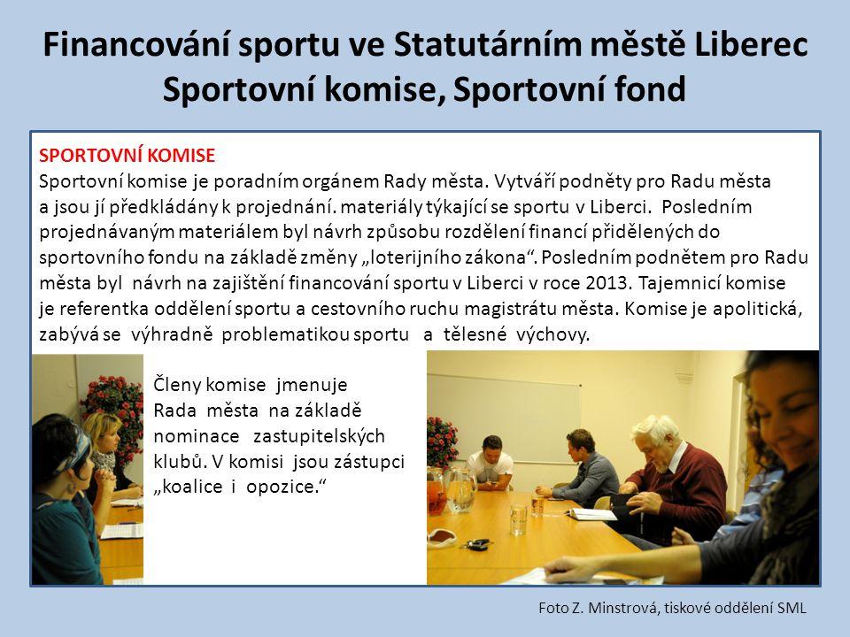 Financování sportu ve Statutárním městě Liberec Sportovní komise, Sportovní fond SPORTOVNÍ FOND Sportovní fond byl zřízen usnesením Zastupitelstva města Liberce č.