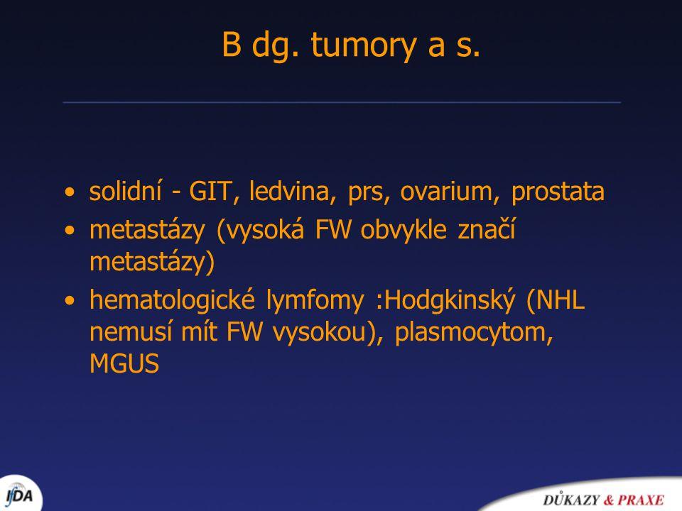 •solidní - GIT, ledvina, prs, ovarium, prostata •metastázy (vysoká FW obvykle značí metastázy) •hematologické lymfomy :Hodgkinský (NHL nemusí mít FW vysokou), plasmocytom, MGUS B dg.