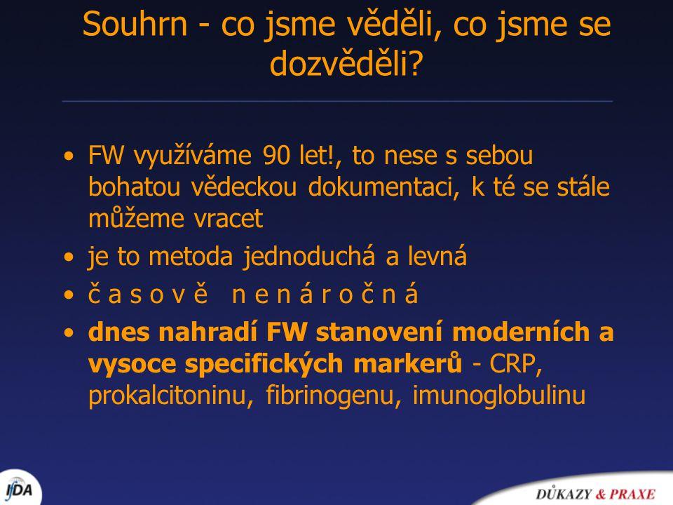 •FW využíváme 90 let!, to nese s sebou bohatou vědeckou dokumentaci, k té se stále můžeme vracet •je to metoda jednoduchá a levná •č a s o v ě n e n á r o č n á •dnes nahradí FW stanovení moderních a vysoce specifických markerů - CRP, prokalcitoninu, fibrinogenu, imunoglobulinu Souhrn - co jsme věděli, co jsme se dozvěděli?