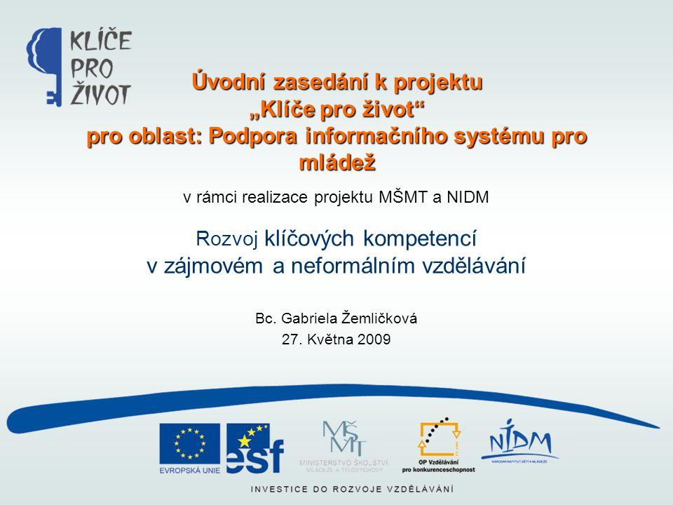 v rámci realizace projektu MŠMT a NIDM Rozvoj klíčových kompetencí v zájmovém a neformálním vzdělávání Bc. Gabriela Žemličková 27. Května 2009 Úvodní