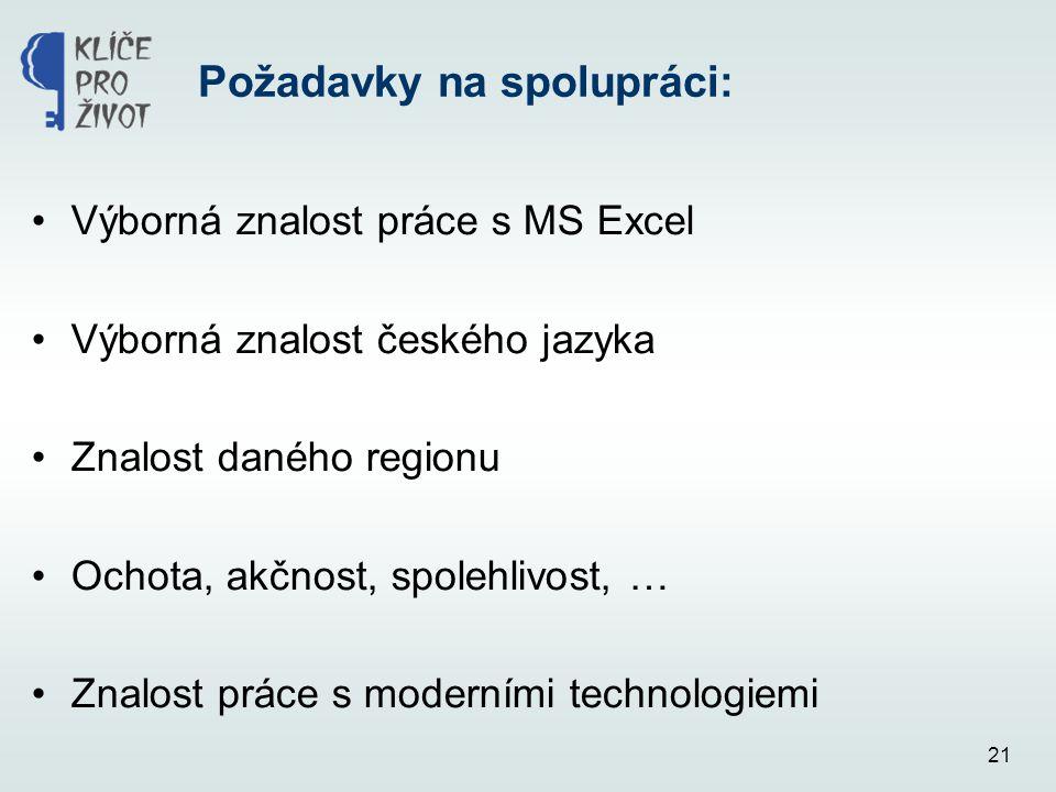 21 Požadavky na spolupráci: •Výborná znalost práce s MS Excel •Výborná znalost českého jazyka •Znalost daného regionu •Ochota, akčnost, spolehlivost,