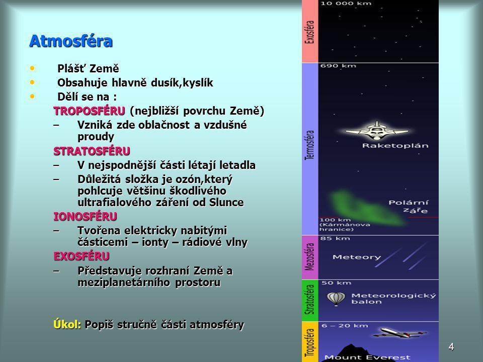 4 Atmosféra • Plášť Země • Obsahuje hlavně dusík,kyslík • Dělí se na : TROPOSFÉRU (nejbližší povrchu Země) –Vzniká zde oblačnost a vzdušné proudy STRA