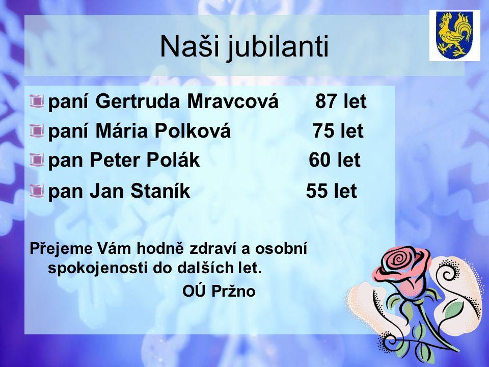 Naši jubilanti paní Gertruda Mravcová 87 let paní Mária Polková 75 let pan Peter Polák 60 let pan Jan Staník 55 let Přejeme Vám hodně zdraví a osobní spokojenosti do dalších let.