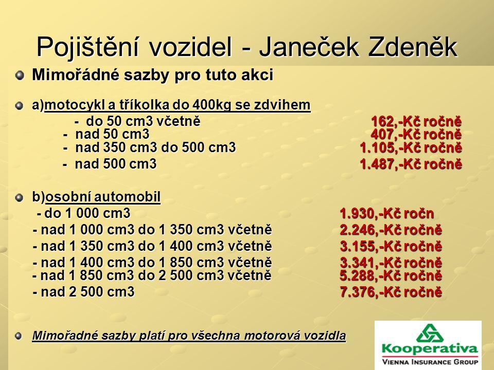 Pojištění vozidel - Janeček Zdeněk Mimořádné sazby pro tuto akci a)motocykl a tříkolka do 400kg se zdvihem - do 50 cm3 včetně 162,-Kč ročně - nad 50 cm3 407,-Kč ročně - nad 350 cm3 do 500 cm3 1.105,-Kč ročně - do 50 cm3 včetně 162,-Kč ročně - nad 50 cm3 407,-Kč ročně - nad 350 cm3 do 500 cm3 1.105,-Kč ročně - nad 500 cm3 1.487,-Kč ročně - nad 500 cm3 1.487,-Kč ročně b)osobní automobil - do 1 000 cm3 1.930,-Kč ročn - do 1 000 cm3 1.930,-Kč ročn - nad 1 000 cm3 do 1 350 cm3 včetně 2.246,-Kč ročně - nad 1 000 cm3 do 1 350 cm3 včetně 2.246,-Kč ročně - nad 1 350 cm3 do 1 400 cm3 včetně 3.155,-Kč ročně - nad 1 350 cm3 do 1 400 cm3 včetně 3.155,-Kč ročně - nad 1 400 cm3 do 1 850 cm3 včetně 3.341,-Kč ročně - nad 1 850 cm3 do 2 500 cm3 včetně 5.288,-Kč ročně - nad 1 400 cm3 do 1 850 cm3 včetně 3.341,-Kč ročně - nad 1 850 cm3 do 2 500 cm3 včetně 5.288,-Kč ročně - nad 2 500 cm3 7.376,-Kč ročně - nad 2 500 cm3 7.376,-Kč ročně Mimořadné sazby platí pro všechna motorová vozidla