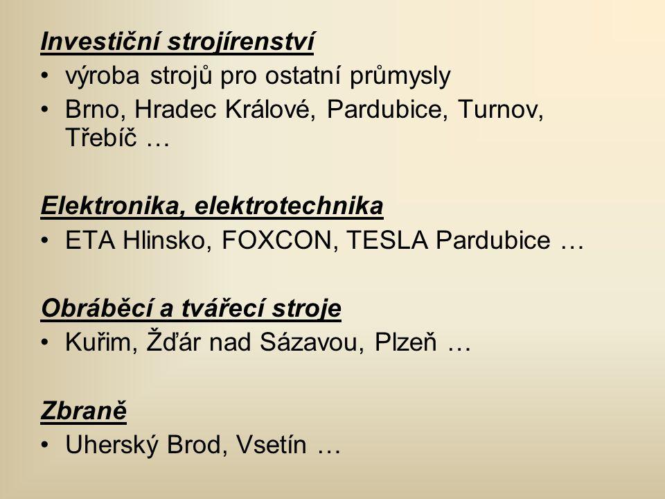 Investiční strojírenství •výroba strojů pro ostatní průmysly •Brno, Hradec Králové, Pardubice, Turnov, Třebíč … Elektronika, elektrotechnika •ETA Hlin