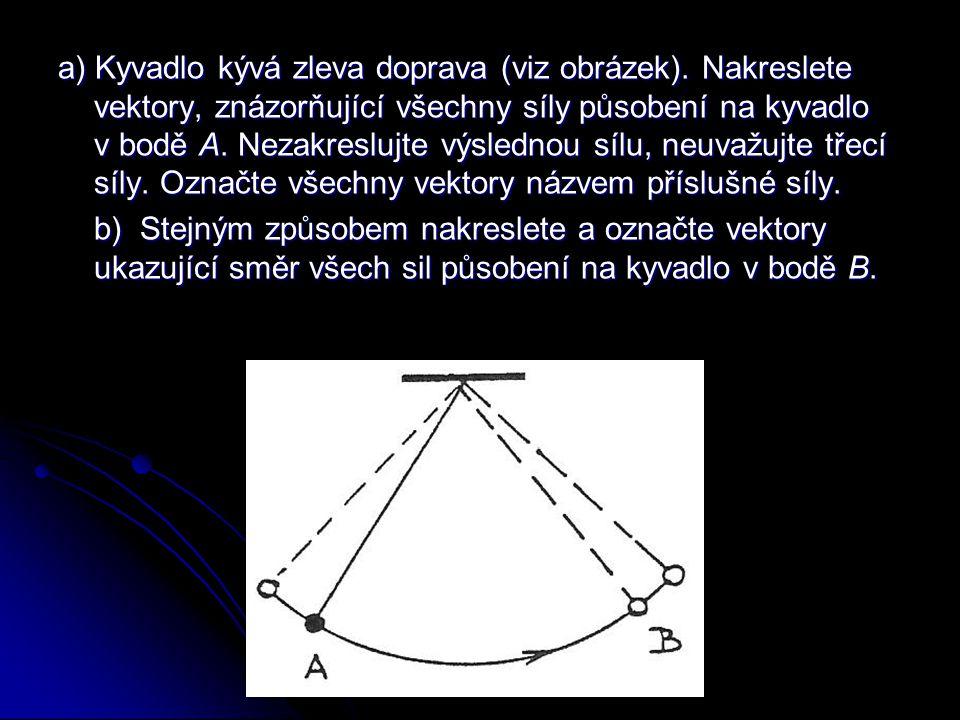 a) Kyvadlo kývá zleva doprava (viz obrázek). Nakreslete vektory, znázorňující všechny síly působení na kyvadlo v bodě A. Nezakreslujte výslednou sílu,