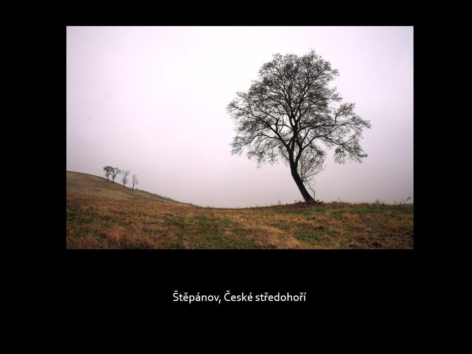 Podzimní ráno v polích mezi Lukovem a Štěpánovem, České středohoří