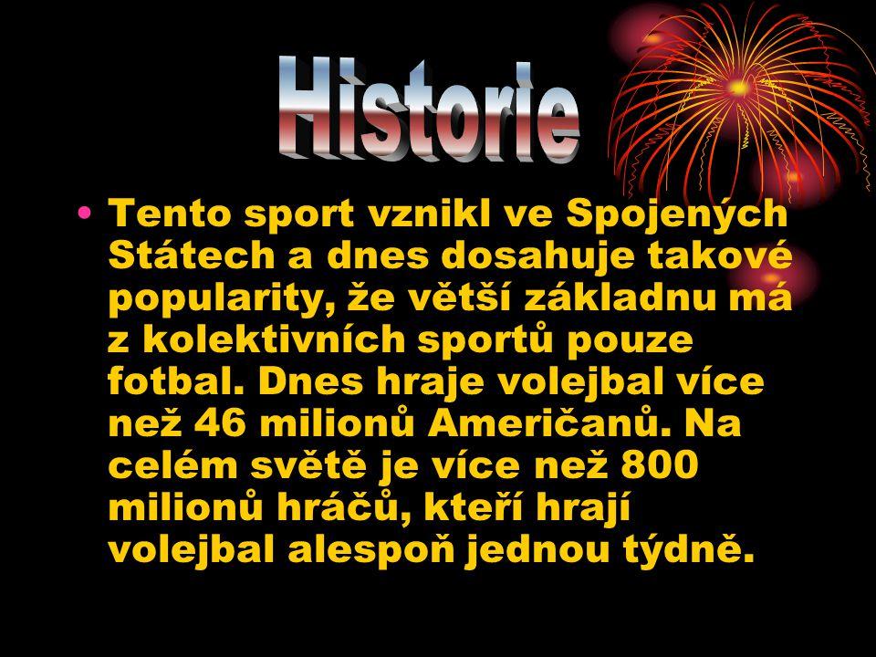 •Tento sport vznikl ve Spojených Státech a dnes dosahuje takové popularity, že větší základnu má z kolektivních sportů pouze fotbal. Dnes hraje volejb