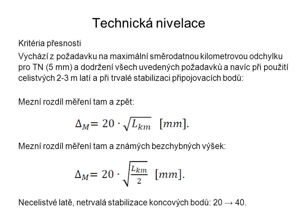 Technická nivelace Kritéria přesnosti Vychází z požadavku na maximální směrodatnou kilometrovou odchylku pro TN (5 mm) a dodržení všech uvedených poža