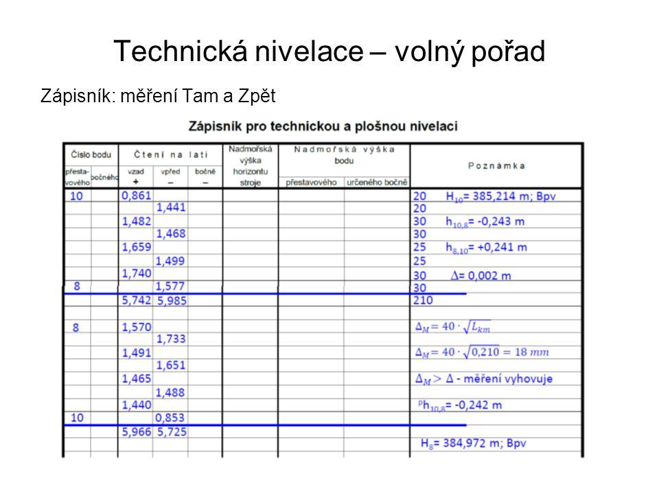 Technická nivelace – volný pořad Zápisník: měření Tam a Zpět