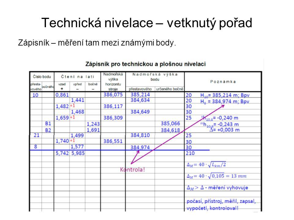 Technická nivelace – vetknutý pořad Zápisník – měření tam mezi známými body.