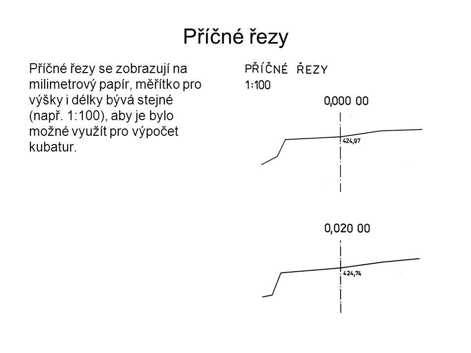 Příčné řezy Příčné řezy se zobrazují na milimetrový papír, měřítko pro výšky i délky bývá stejné (např. 1:100), aby je bylo možné využít pro výpočet k