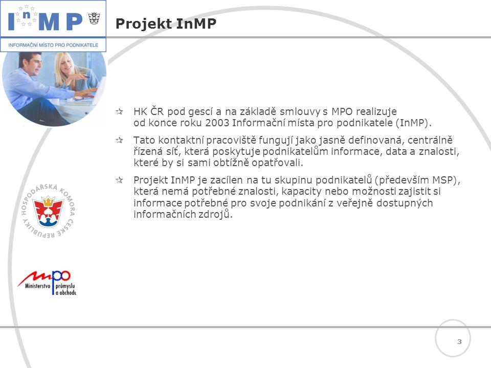3 Projekt InMP  HK ČR pod gescí a na základě smlouvy s MPO realizuje od konce roku 2003 Informační místa pro podnikatele (InMP).