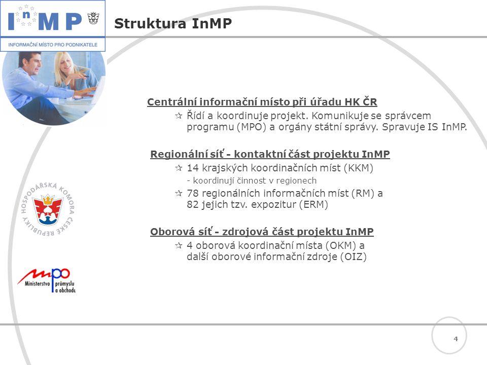 4 Struktura InMP Centrální informační místo při úřadu HK ČR  Řídí a koordinuje projekt.