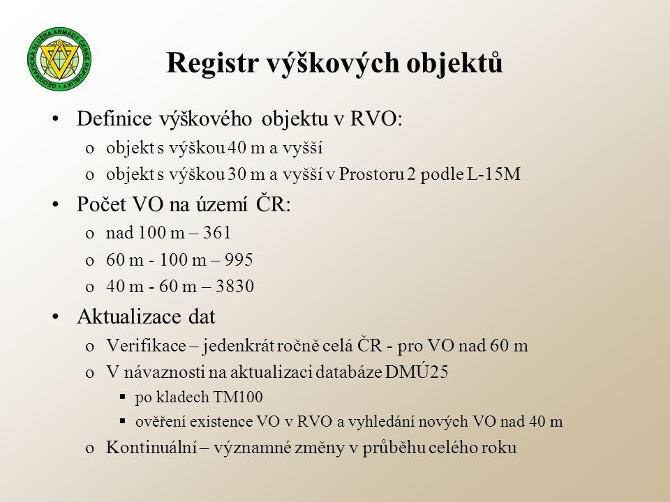Registr výškových objektů •Definice výškového objektu v RVO: oobjekt s výškou 40 m a vyšší oobjekt s výškou 30 m a vyšší v Prostoru 2 podle L-15M •Poč
