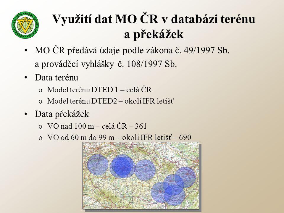 Využití dat MO ČR v databázi terénu a překážek •MO ČR předává údaje podle zákona č. 49/1997 Sb. a prováděcí vyhlášky č. 108/1997 Sb. •Data terénu oMod