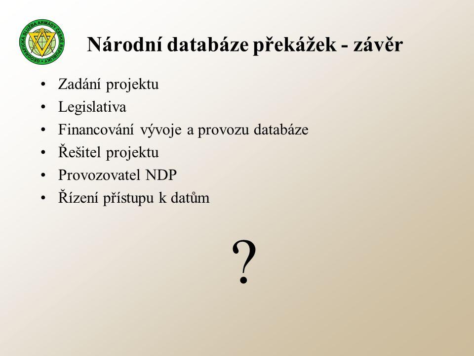 Národní databáze překážek - závěr •Zadání projektu •Legislativa •Financování vývoje a provozu databáze •Řešitel projektu •Provozovatel NDP •Řízení pří