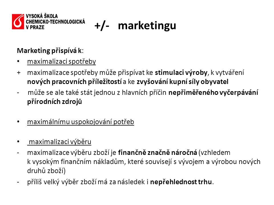 Marketing přispívá k: • maximalizaci spotřeby +maximalizace spotřeby může přispívat ke stimulaci výroby, k vytváření nových pracovních příležitostí a