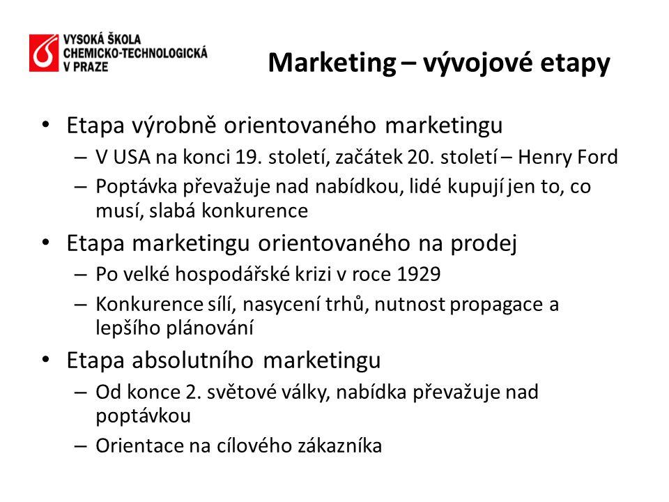 • Etapa výrobně orientovaného marketingu – V USA na konci 19. století, začátek 20. století – Henry Ford – Poptávka převažuje nad nabídkou, lidé kupují