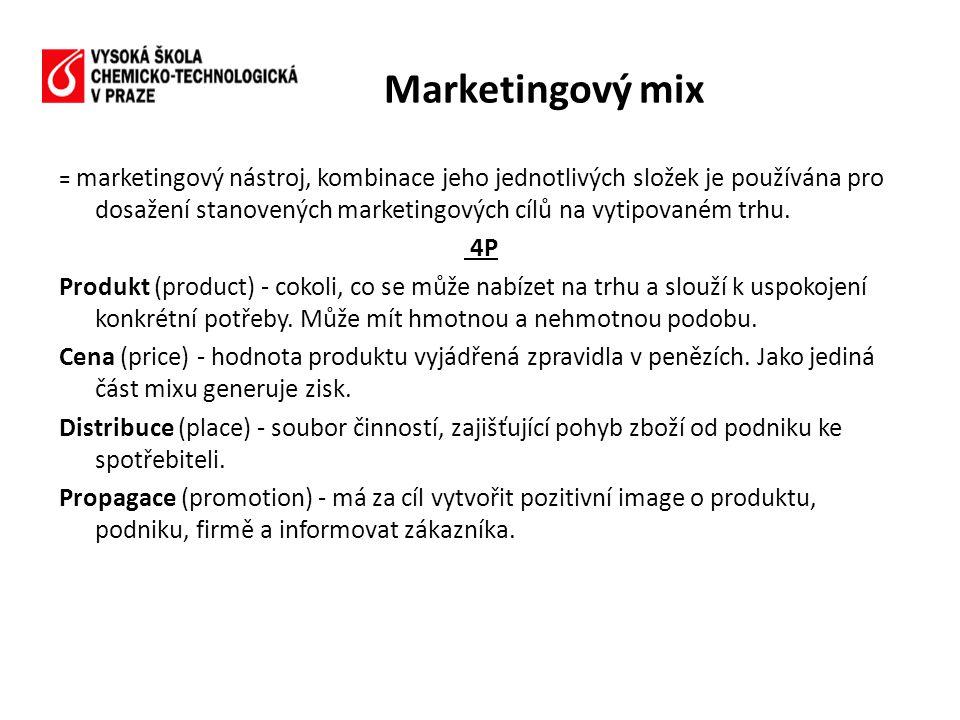 = marketingový nástroj, kombinace jeho jednotlivých složek je používána pro dosažení stanovených marketingových cílů na vytipovaném trhu. 4P Produkt (