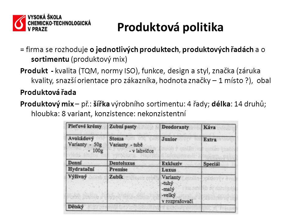 = firma se rozhoduje o jednotlivých produktech, produktových řadách a o sortimentu (produktový mix) Produkt - kvalita (TQM, normy ISO), funkce, design