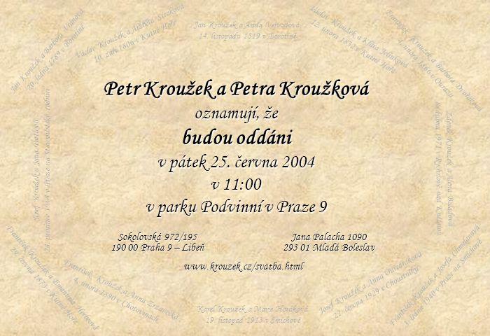 Jan Kroužek a Barbora Vránová 20. ledna 1789 v Borotíně Václav Kroužek a Alžběta Straková 10. září 1806 v Kutné Hoře Jan Kroužek a Anna Vejvodová 14.