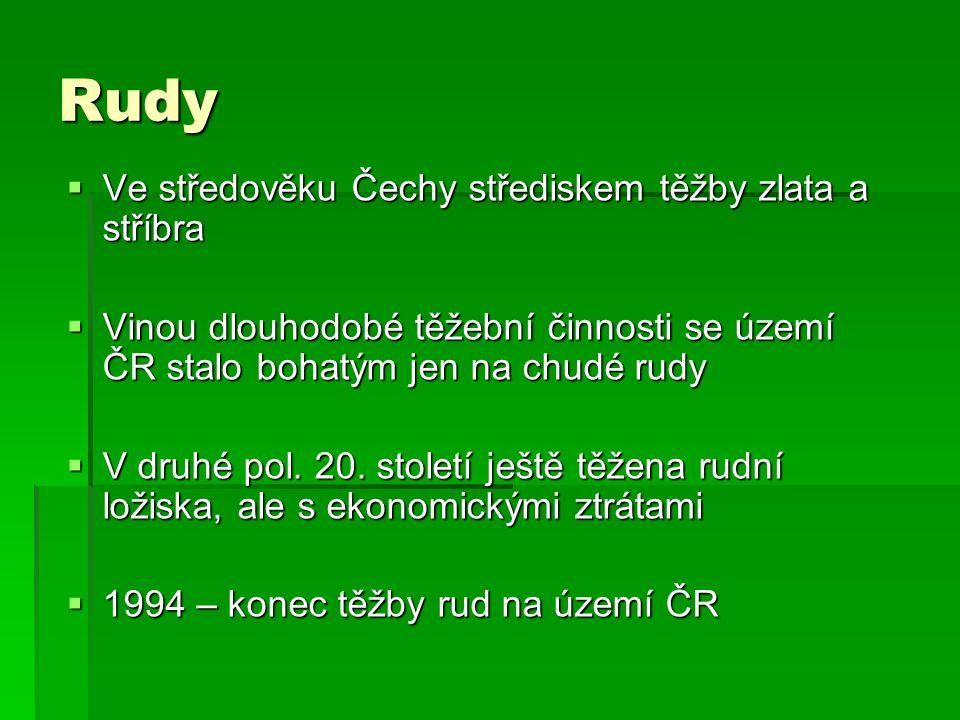 Rudy  Ve středověku Čechy střediskem těžby zlata a stříbra  Vinou dlouhodobé těžební činnosti se území ČR stalo bohatým jen na chudé rudy  V druhé