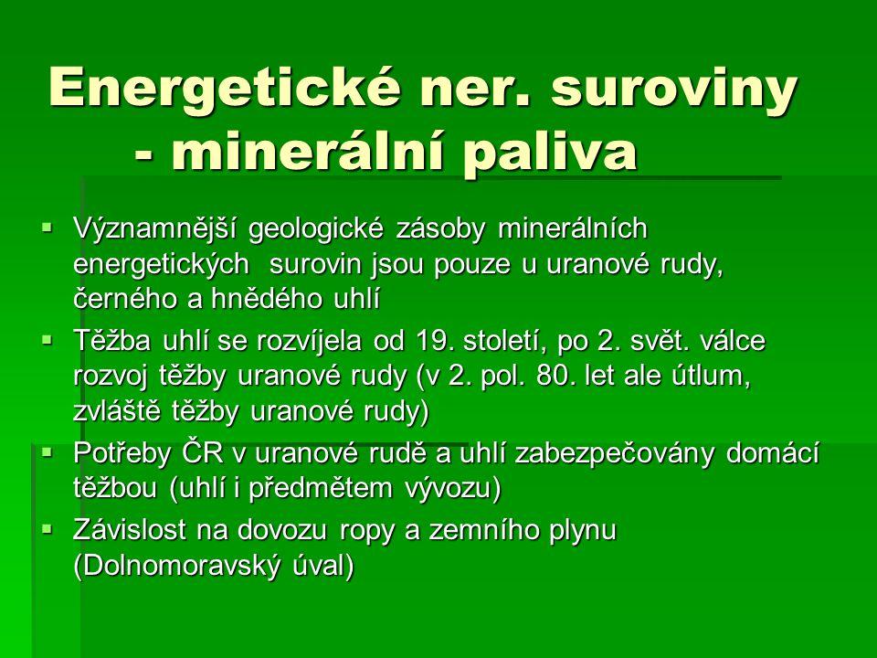 Energetické ner. suroviny - minerální paliva  Významnější geologické zásoby minerálních energetických surovin jsou pouze u uranové rudy, černého a hn