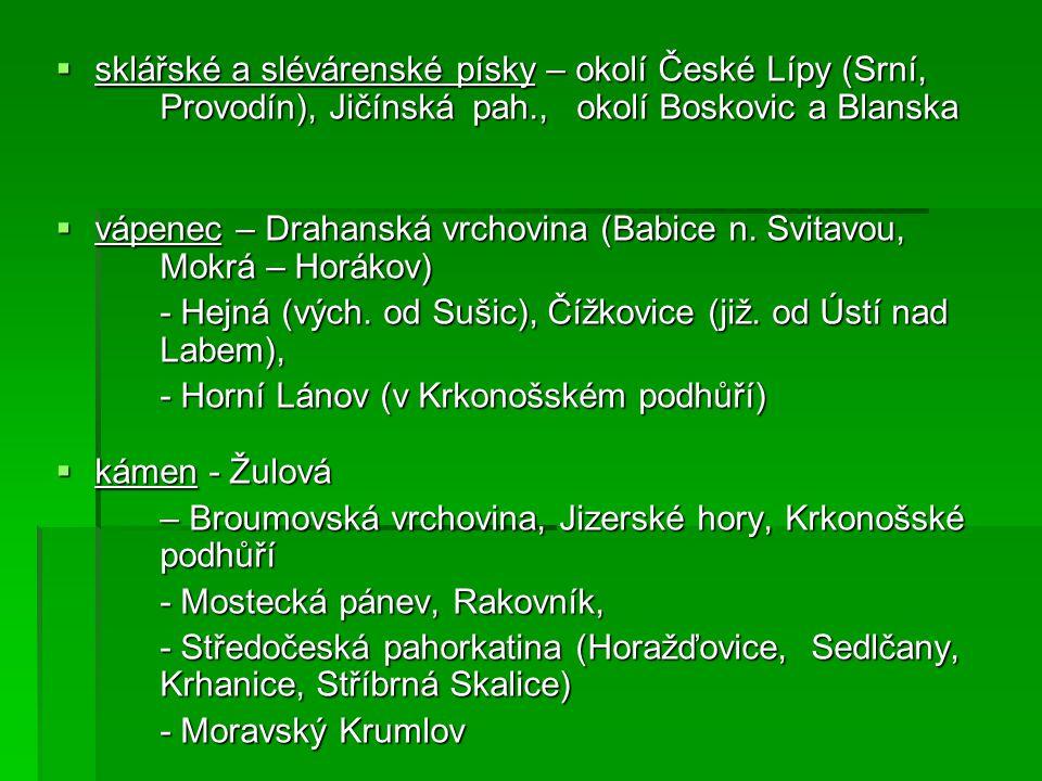  cihlářské suroviny – Týn nad Vltavou - Praha, Sázava, Teplice, Pardubice, - Dolnomoravský úval (Hodonín) - Dyjsko – svratecký úval (Novosedly) - Ostravsko (Paskov) - Uničov (jižně od Šumperka)