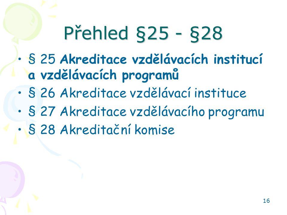 16 Přehled §25 - §28 •§ 25 Akreditace vzdělávacích institucí a vzdělávacích programů •§ 26 Akreditace vzdělávací instituce •§ 27 Akreditace vzdělávací