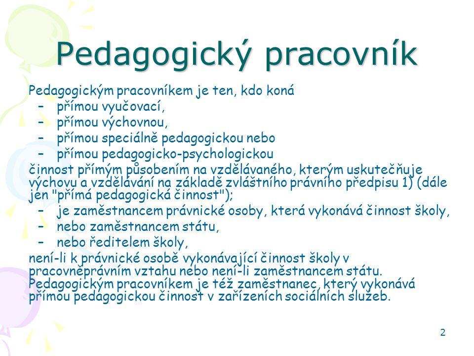 2 Pedagogický pracovník Pedagogickým pracovníkem je ten, kdo koná –přímou vyučovací, –přímou výchovnou, –přímou speciálně pedagogickou nebo –přímou pe