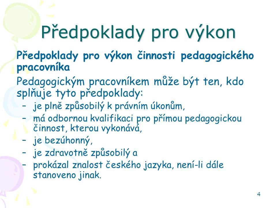 4 Předpoklady pro výkon Předpoklady pro výkon činnosti pedagogického pracovníka Pedagogickým pracovníkem může být ten, kdo splňuje tyto předpoklady: –