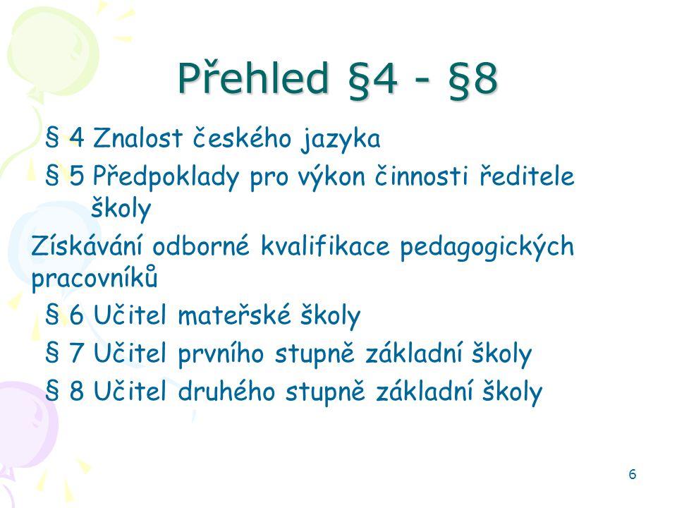 7 Učitel střední školy § 9 Učitel střední školy - kvalifikace –Učitel všeobecně vzdělávacích předmětů SŠ –Učitel odborných předmětů střední školy –Učitel praktického vyučování –Učitel praktického vyučování zdravotnických oborů –Učitel odborného výcviku –Učitel střední školy, který vzdělává ve třídě nebo škole zřízené pro žáky se speciálními vzdělávacími potřebami