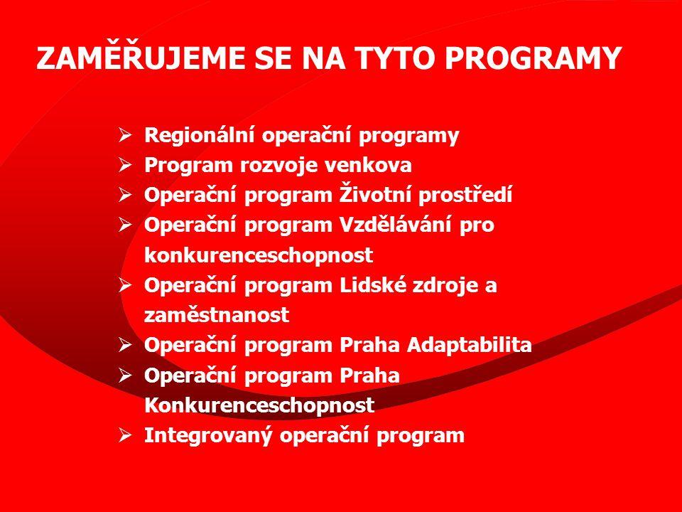 EUROMANAŽEŘI ROP SČ  od 1.2.2008 je naše společnost členem sítě euromanažerů ROP Střední Čechy  posláním sítě je posílení schopnosti žadatelů předkládat kvalitní projektové záměry, tyto projekty realizovat a zajistit jejich udržitelnost Základní činnosti, které v rámci sítě euromanažerů poskytujeme : •poskytování informací •informování Úřadu regionální rady o případných problémech žadatelů •shromažďování podnětů k budoucímu rozvoji území •zvyšování informovanosti veřejnosti o ROP SČ a publicitě programu