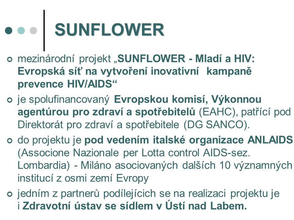 """SUNFLOWER mezinárodní projekt """"SUNFLOWER - Mladí a HIV: Evropská síť na vytvoření inovativní kampaně prevence HIV/AIDS"""" je spolufinancovaný Evropskou"""