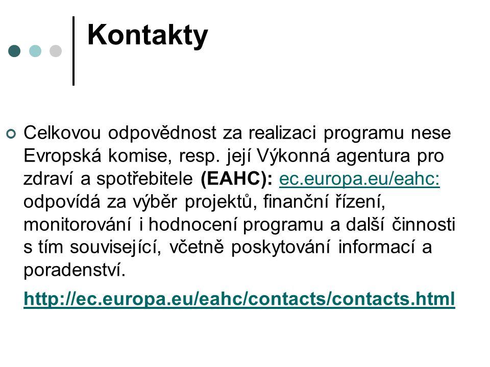 Kontakty Celkovou odpovědnost za realizaci programu nese Evropská komise, resp. její Výkonná agentura pro zdraví a spotřebitele (EAHC): ec.europa.eu/e