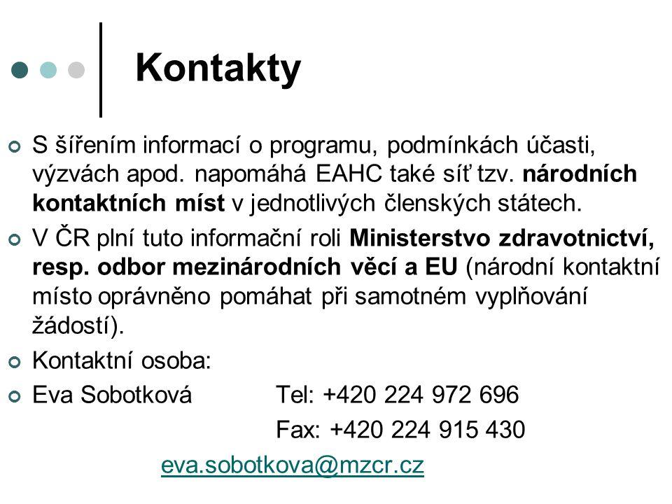 Kontakty S šířením informací o programu, podmínkách účasti, výzvách apod. napomáhá EAHC také síť tzv. národních kontaktních míst v jednotlivých člensk