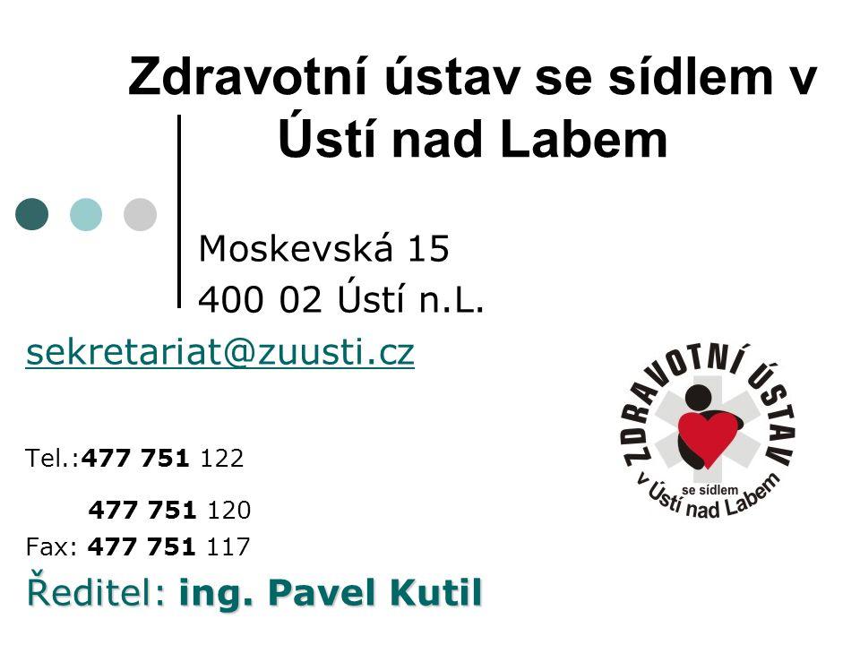 Zdravotní ústav se sídlem v Ústí nad Labem Moskevská 15 400 02 Ústí n.L. sekretariat@zuusti.cz Tel.:477 751 122 477 751 120 Fax: 477 751 117 Ředitel: