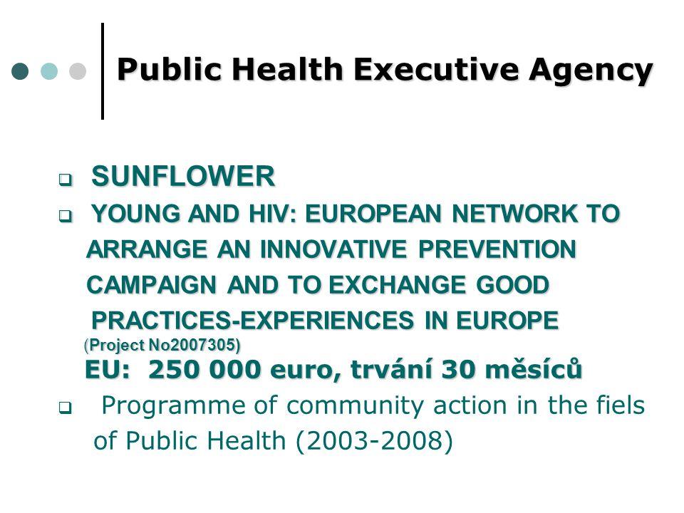 """SUNFLOWER mezinárodní projekt """"SUNFLOWER - Mladí a HIV: Evropská síť na vytvoření inovativní kampaně prevence HIV/AIDS je spolufinancovaný Evropskou komisí, Výkonnou agentúrou pro zdraví a spotřebitelů (EAHC), patřící pod Direktorát pro zdraví a spotřebitele (DG SANCO)."""