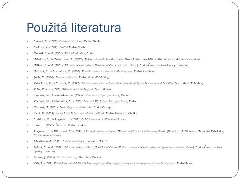 Použitá literatura  Bursová, M. (2005). Kompenza č ní cvi č ení. Praha: Grada.  Buzková, K. (2006). Stre č ink Praha: Grada.  Č ermák, J. et al. (1