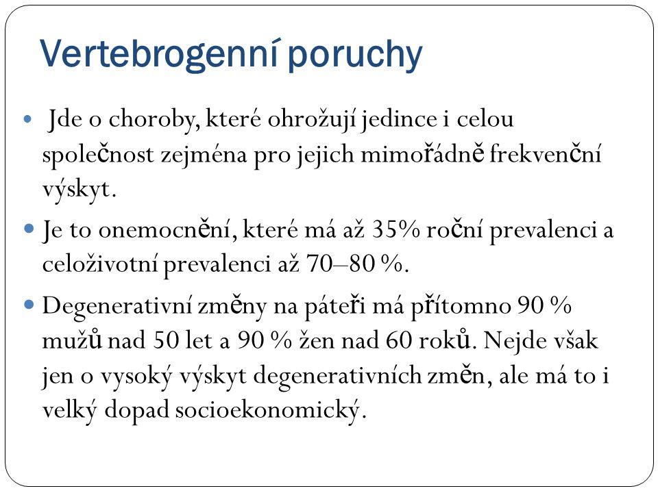 • Vertebrogenní onemocn ě ní jsou na prvním míst ě mezi chorobami, které vedou k omezení pracovní aktivity, jsou na 2.